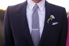 (I don't like the bouton-niere!) black grooms suit with grey tie | Wedding & Party Ideas | 100 Layer Cake