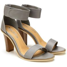 Yoins Ankle Strap Sandals ($41) ❤ liked on Polyvore featuring shoes, sandals, heels, grey, cocktail shoes, special occasion sandals, gray evening shoes, ankle wrap shoes and ankle strap shoes