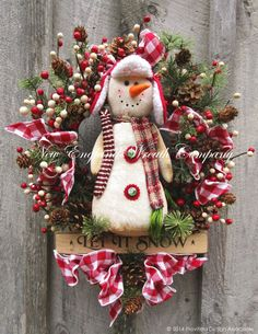 """Let it Snow"" Snowman Swag by NewEnglandWreath"