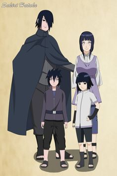 Sasuhina family, Sasuke, Hinata, Daichi and Sugumi by SakiriHatakePRO.deviantart.com on @DeviantArt