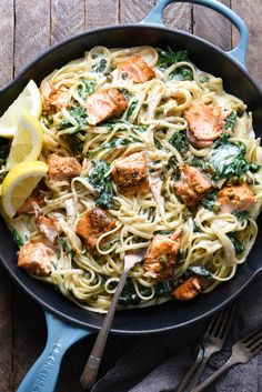 """Creamy Salmon Pasta Recipe - With Video! - Foxes Love LemonsShow your significant other what a """"home chef"""" you are by impressing them with this Creamy Salmon Pasta with Spinach. The perfect recipe for a date night at home, or just an easy weeknight Salmon Pasta Recipes, Creamy Salmon Pasta, Spinach Recipes, Seafood Recipes, Chicken Recipes, Pasta With Salmon, Salmon Dinner, Leftover Salmon Recipes, Salmon Meals"""