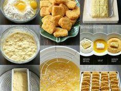 Resep Nugget Pisang favorit. Resepnya sama persis kaya resep nugget pisang yg mak Frida bikin setahun lalu, cuma beda bahan baluran aja. Ini ga pake air, tapi pake telur kocok, jadinya lebih crunchy, maaaaak .. Indonesian Desserts, Asian Desserts, Indonesian Food, Indonesian Recipes, Savory Snacks, Yummy Snacks, Yummy Food, Seafood Recipes, Cooking Recipes