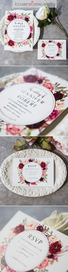 as low as $0.94 - Cheap Burgundy Floral Boho Wedding Invitations EWI421