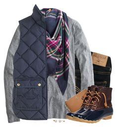 """Navy, gray & plaid"" by steffiestaffie ❤ liked on Polyvore featuring Hollister Co., J.Crew, Joules, Tory Burch and Sperry"