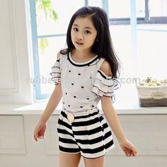 Cute Flounced Sleeve Heart Print Blouse Striped Shorts Twinset For Girls Cute Little Girl Dresses, Little Girl Outfits, Cute Little Girls, Baby Girl Dresses, Baby Dress, Kids Outfits, Frocks For Girls, Kids Fashion, Fashion Outfits