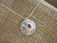 Curved Birthstone Circle Tag-hand stamped necklace  hand stamped mommy necklace