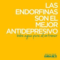 Las endorfinas son el mejor antidepresivo. Bebe agua pura al entrenar. #Fitness #Salid #CuidaDeTi