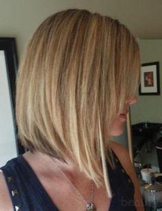 Short angled bob w/ long side swept bangs by jasmine