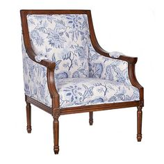 Our McKenna Blue Floral Darker Finish Accent Chair brings a rustic spin to traditional style. Its dark wood makes this a perfect piece for any farmhouse space! Beige Sofa Living Room, Living Room Chairs, Country Master Bedroom, Floral Chair, Traditional Chairs, Scandinavian Dining Chairs, Patterned Chair, Furniture Upholstery, Accent Chairs