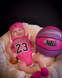 NBA, newborn photos, Air Jordan, #23, basketball, hot pink jersey , baby girl, basketball photo shoot, mini basketball prop from target