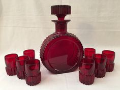 Paden City Ruby Glass Glades Decanter and by TheMartiniClub Red Glass, Decanter, Tableware, Handmade, Dinnerware, Hand Made, Carafe, Dishes, Arm Work