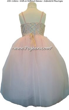 70a1ce3e14 Morganite Fairy Flower Girl Dress with Swarovski Crystals and tulle