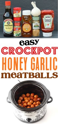 {Crazy Easy} - The Frugal Girls - Crockpot Meatballs Recipe – Easy Honey Garlic Meatball Recipe! Perfect for Game Day, Party Appet - Crock Pot Recipes, Cooker Recipes, Snack Recipes, Game Recipes, Chicken Recipes, Snacks, Garlic Meatball Recipe, Meatball Recipes, Grape Jelly Meatballs