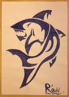 Tribal drawing ~ shark -Coline210