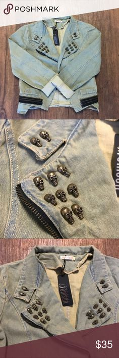 NWT 💀 Skull Studded Denim Jacket Asymmetrical denim jacket with external decorated zippers and bronze colored studded skulls on the collar. 36 Point 5 Jackets & Coats Jean Jackets