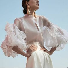 Sexy solid-color long sleeve shirt Silk Organza, Blouse Online, White Silk, Daily Fashion, Sexy, Long Sleeve Shirts, Style Inspiration, Trending Outfits, Sleeves