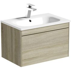 Mode Austin Oak Wall Hung Vanity Unit And Stone Basin Bathroom Basin Units, Bathroom Storage Units, Contemporary Bathroom Furniture, Contemporary Bathroom Designs, Wood Hinges, Stone Basin, Basin Mixer Taps, Wall Mounted Vanity, Metal Drawers