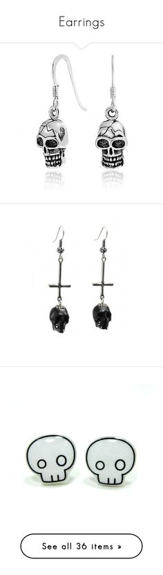 """""""Earrings"""" by haunted-idiots ❤ liked on Polyvore featuring jewelry, earrings, joias, sterling silver wire earrings, nautical earrings, pirate earrings, sterling silver dangle earrings, nautical jewelry, sterling silver skull earrings and crucifix earrings"""