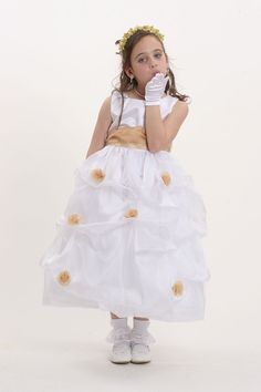 Flower Girl Dress Style 5213 White or Ivory- Sleeveless Organza Pick Up Dress With gold Accents Yellow Flower Girl Dresses, Yellow Flowers, Dresses For Less, Southern Belle, Up Styles, Gold Accents, Absolutely Stunning, Skirt Fashion, Frocks