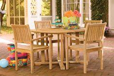 Shorea wood patio set. Simple outdoor furniture set for 4.