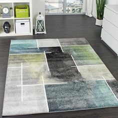 Designer Teppich Kariert Modern Trendig Meliert Eyecatcher in Grau Türkis Grün, Grösse:70x140 cm: Amazon.de: Küche & Haushalt