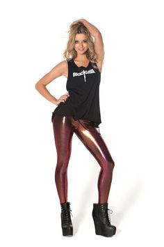 Oil Slick Red / Pink Leggings - LIMITED by Black Milk Clothing