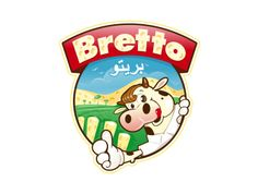 Bretto´s drink milk logo design. Cheeky looking cow on a farm.