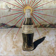 Jose Luis Ferragut - Believe Coke - 2012, oil on stainless steel canvas. 100 X 100 CM.