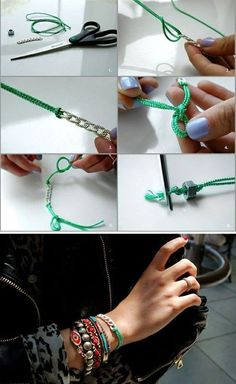 With a little effort, using scissors, thread and metal detail that you like, you can easily make a bracelet. Let this image help you get the idea.
