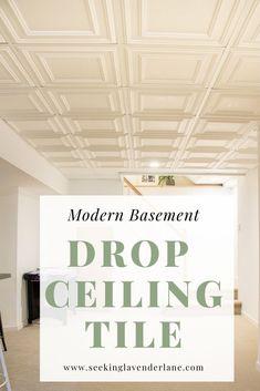 Not yo mama's drop ceiling! Drop Ceiling Basement, Drop Ceiling Tiles, Drop Down Ceiling, Dropped Ceiling, Modern Ceiling Tile, Basement Makeover, Basement Renovations, Basement Ideas, Cozy Basement