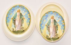 Sliding Miraculous Rosary Box with a Depiction of Our Lady of Grace. Catholic Gifts, Our Lady, Different Shapes, Miraculous, Pearls, Boxes, Crates, Box, Beads