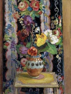 duncan grant(1885‑1978), flowers against chintz, 1956. oil on board, 75.6 x 54.9 cm. arts council, uk http://www.bbc.co.uk/arts/yourpaintings/paintings/flowers-against-chintz-63480