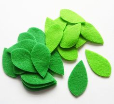 Felt Leaves Green set of 40 pieces by PlanetaCostura