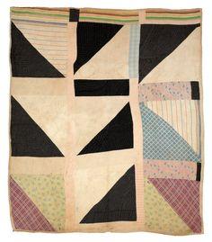 """Half Squares"" - Cotton, 80 x 73 inches. Collection of Souls Grown Deep Foundation. Art Fibres Textiles, Textile Fiber Art, Textile Artists, Old Quilts, Antique Quilts, Vintage Quilts, Gees Bend Quilts, Deep Foundation, African Quilts"