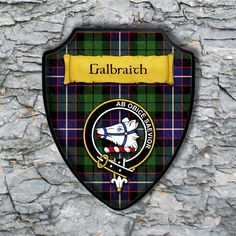 Galbraith Plaque with Scottish Clan Badge on Clan Tartan Background by YourCustomStuff on Etsy https://www.etsy.com/listing/501454298/galbraith-plaque-with-scottish-clan