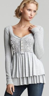 Anthropologie Free People Gray Magic Carpet Ride Thermal Babydoll Knit Top S. refashion inspiration