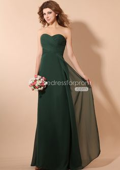 Free Shipping A-line Sweetheart Empire Dark Green Chiffon Floor ...