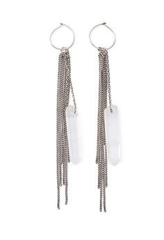 Faux Quartz Chain Drop Earrings | Forever 21 - 1000173251