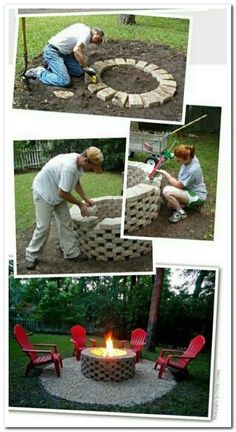 Amazing DIY Backyard Fire Pits Design Ideas The fire shouldn't be raging above the blocks at the very top of the pit. A fire pit doesn't need to seem perfect or to… The post Amazing DIY Backyard Fire Pits Design Ideas appeared first on Engineering Basic. Diy Fire Pit, Fire Pit Backyard, Backyard Patio, Backyard Seating, Backyard Ponds, Backyard Furniture, Backyard Projects, Backyard Ideas, Porch Ideas