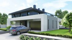 Find home projects from professionals for ideas & inspiration. Projekt domu HomeKONCEPT 60 by HomeKONCEPT Modern Exterior House Designs, Dream House Exterior, Modern House Plans, Casa Art Deco, 2 Storey House Design, Architecture Building Design, Villa Design, New Homes, Pergola