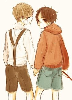 """Jean Kirstein x Eren Jaeger jean looks like hes saying """"theyre just jerks, lets go eren"""""""