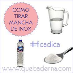 Como tirar mancha de inox - água + detergente neutro + bicarbonato de sódio