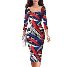 Mulheres+Evasê+/+Bandagem+Vestido,Casual+/+Tamanhos+Grandes+Vintage+/+Simples+/+Moda+de+Rua+Geométrica+Decote+Quadrado+Altura+dos+Joelhos+–+BRL+R$+143,82