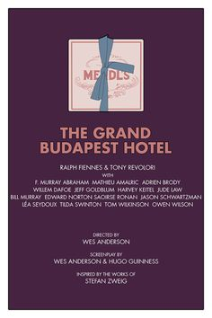 Minimal Movie Posters, Cinema Posters, Film Posters, Tony Revolori, Tom Wilkinson, Grand Budapest Hotel, Grand Hotel, Wes Anderson Movies, Willem Dafoe