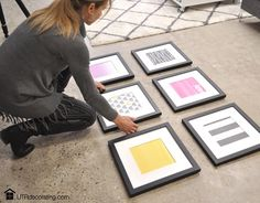 Tip: When hanging more than one picture frame, start by placing your frames on the floor to figure out the best possible arrangement.