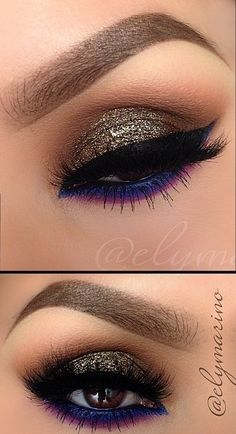 Eye makeup blue glitter black liner smokey