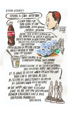 """Nathan Gelgud's illustrated accompaniment to this gorgeous Frank O'Hara poem - """"I would rather look at you than all the portraits in the world"""""""