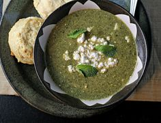 Clean and fresh herb, chard, and feta soup is paired with buttery ...