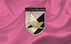 Scarica sfondi Palermo, Serie A, calcio, Italia, emblema di Palermo, club di calcio