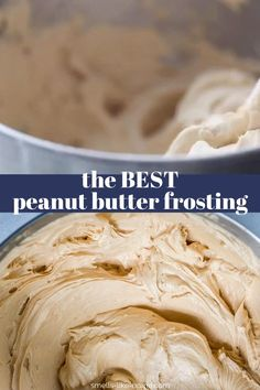 Want to make the best, creamiest peanut butter frosting? Peanut Butter Icing, Best Peanut Butter, Homemade Peanut Butter, Dog Cake Frosting Recipe, Easy Peanut Butter Recipes, Peanut Butter Mouse, Homemade Chocolate Icing, Homemade Cake Frosting, Dessert